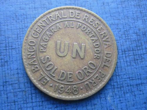 Монета  1 сол де оро Перу 1948 большая