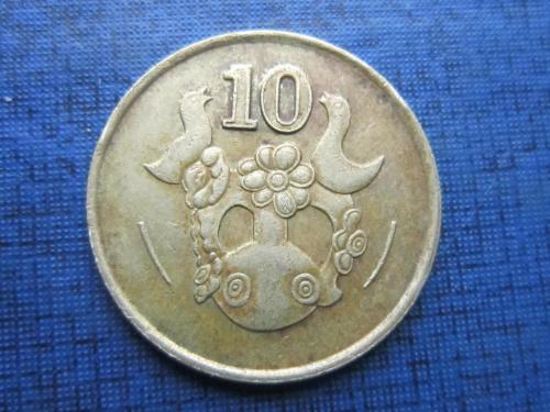 Монета 10 центов Кипр 1990 фауна птицы