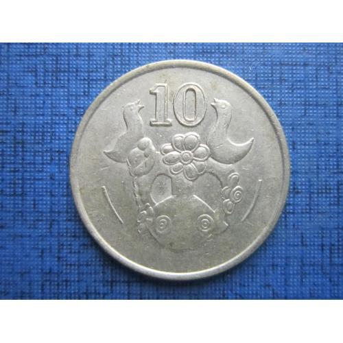 Монета 10 центов Кипр 1991 фауна птицы
