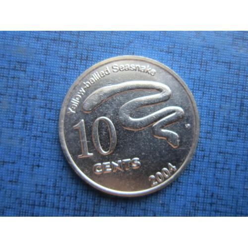 Монета 10 центов Кокосовые острова Килинг 2004 фауна морская змея состояние