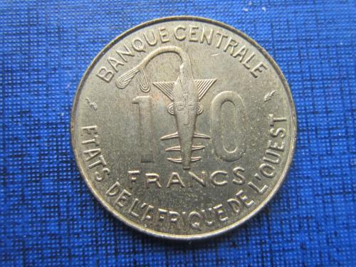 Монета 10 франков КФА 1978 Западная Африка фауна рыба антилопа