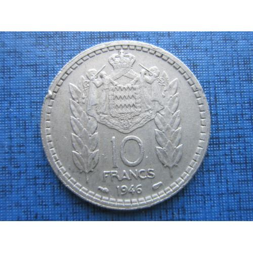 Монета 10 франков Монако 1946