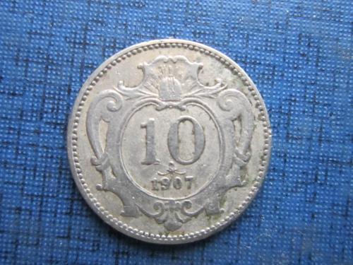 Монета 10 геллеров Австро-Венгрия 1907