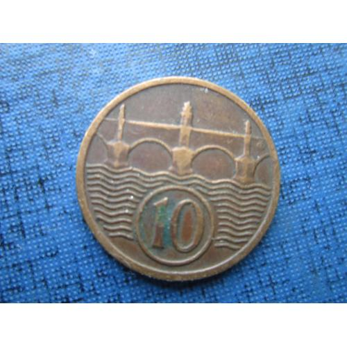 Монета 10 геллеров Чехословакия 1937