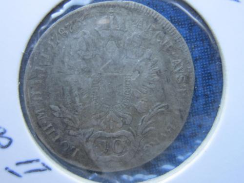 монета 10 крейцеров Австрия 1787 Иосиф II серебро нечастая