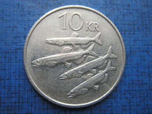 Монета 10 крон Исландия 1987 фауна рыба