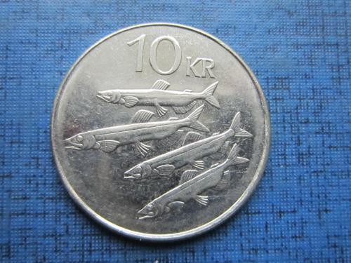 Монета 10 крон Исландия 2004 фауна рыба корова