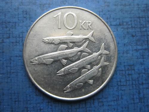Монета 10 крон Исландия 2005 фауна рыба корова