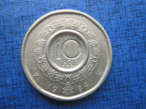 Монета 10 крон Норвегия 1984