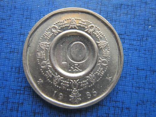 монета 10 крон Норвегия 1986