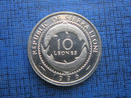 Монета 10 леоне Сьерра-Леоне 1996 фауна рыба