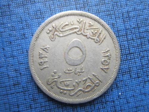 Монета 10 миллим Египет 1938
