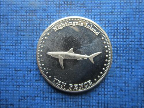 Монета 10 пенсов Тристан-да-Кунья Остров Найтингел 2011 фауна рыба акула состояние