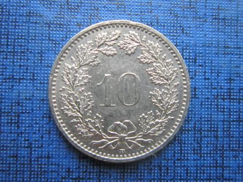 Монета 10 раппен Швейцария 1989