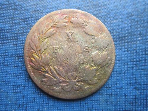 Монета 10 рейс (реалов) Португалия 1884 как есть