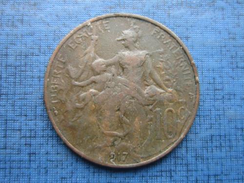 Монета 10 сантимов Франция 1917