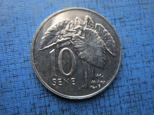 Монета 10 сене Самоа 2002 тропические растения состояние