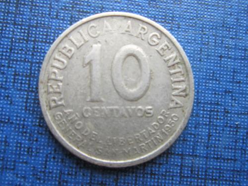 Монета 10 сентаво Аргентина 1950 юбилейка Хосе де Сан Мартин нечастая