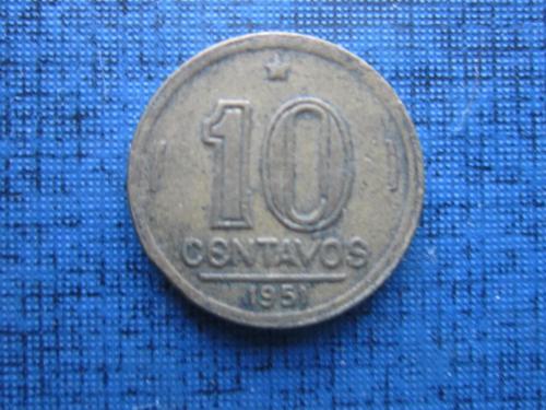Монета 10 сентаво Бразилия 1951