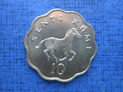 Монета 10 сенти Танзания 1981 фауна зебра состояние