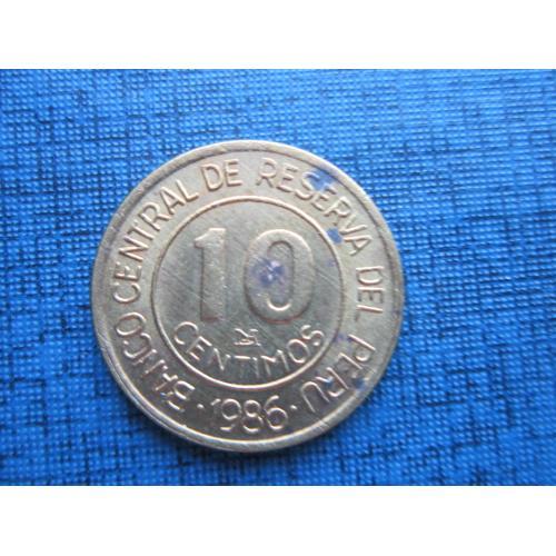 Монета 10 сентимо Перу 1986