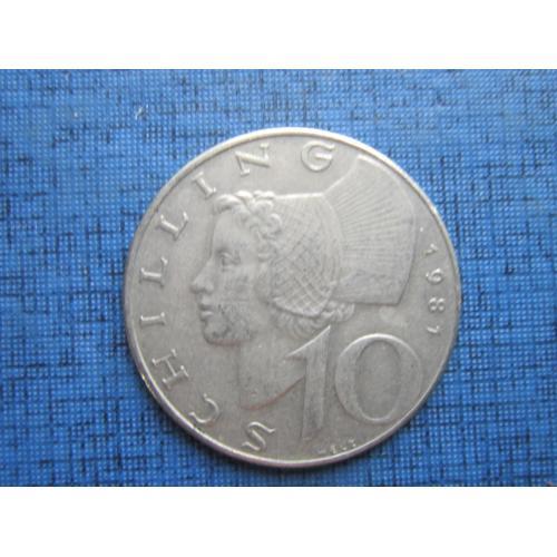 Монета 10 шиллингов Австрия 1981