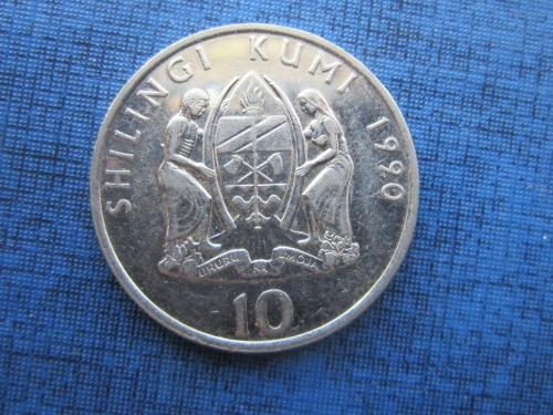 монета 10 шиллингов Танзания 1990