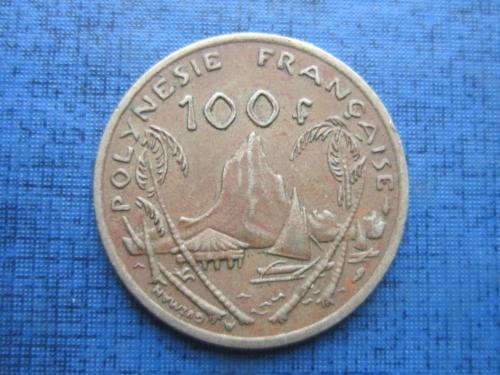 Монета 100  франков Полинезия Французская 1984 корабль парусник яхта