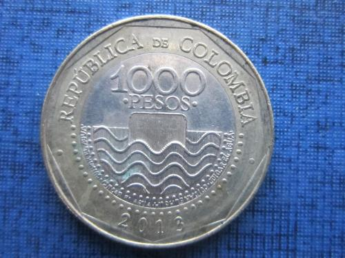 Монета 1000 песо Колумбия 2013 фауна черепаха