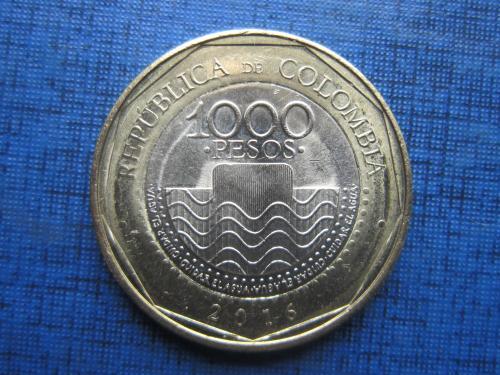 Монета 1000 песо Колумбия 2016 фауна черепаха состояние