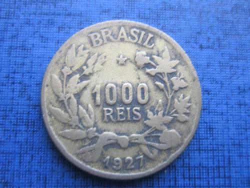 Монета 1000 рейс (реалов) Бразилия 1927