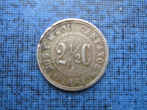 Монета 2 1/2 (2.5) сентаво Колумбия 1881 редкая