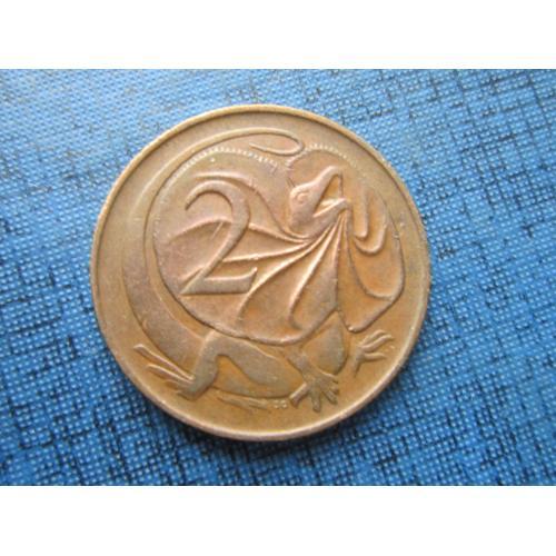 Монета 2 цента Австралия 1966 фауна ящерица