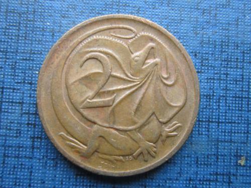 Монета 2 цента Австралия 1980 фауна ящерица