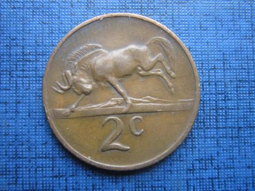 Монета 2 цента ЮАР 1969 фауна антилопа английская легенда