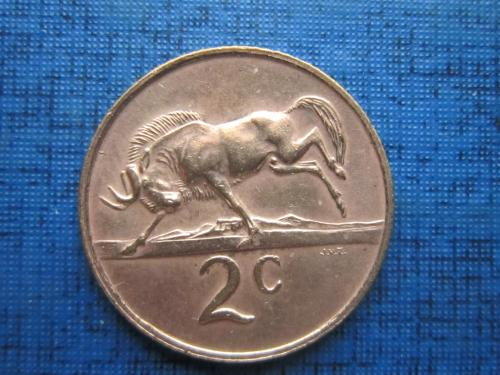 Монета 2 цента ЮАР 1970 фауна антилопа