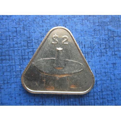 Монета 2 доллара Острова Кука Британские 2015 треугольная состояние