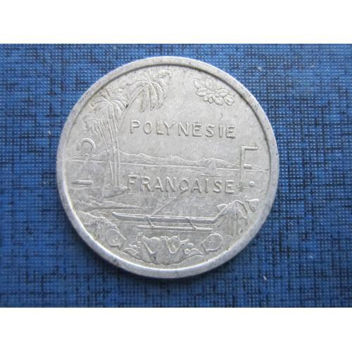 Монета 2 франка Полинезия Французская 1986 корабль лодка