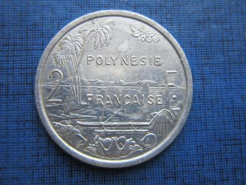 Монета 2 франка Полинезия Французская 2004 корабль лодка