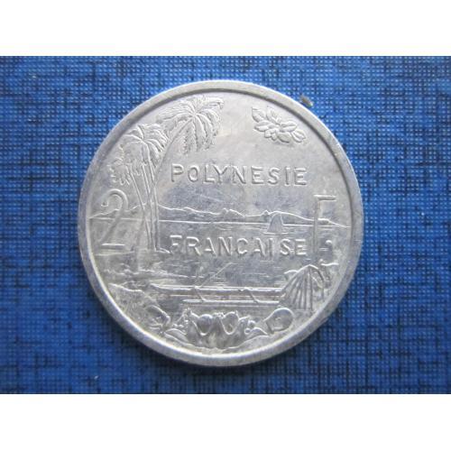 Монета 2 франка Полинезия Французская 2006 корабль лодка