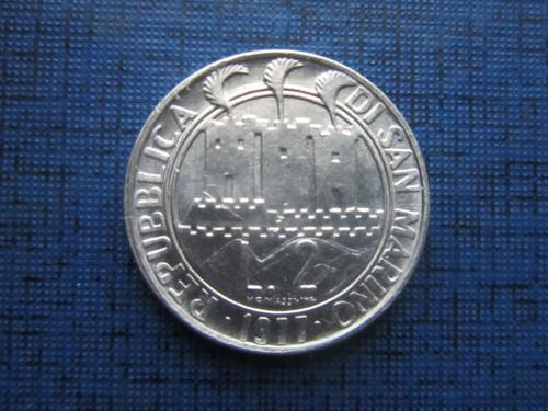 Монета 2 лиры Сан Марино 1977 море звёзды состояние