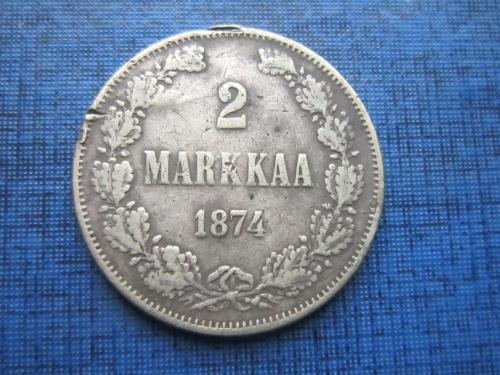 Монета 2 марки Финляндия 1874 Царская Россия серебро