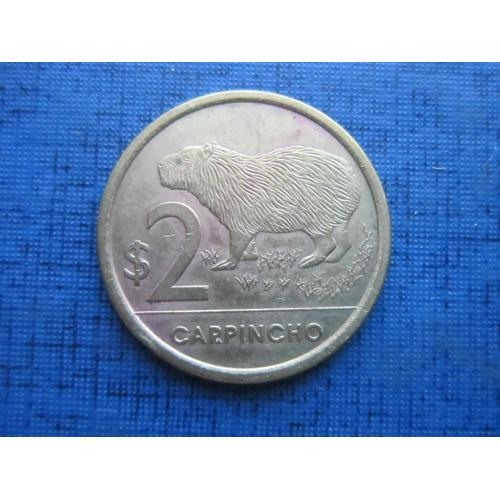 Монета 2 песо Уругвай 2011 фауна капибара