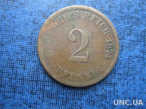монета 2 пфеннигов Германия 1874 С