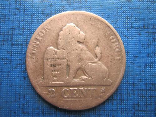 Монета 2 сантима Бельгия 1864 как есть