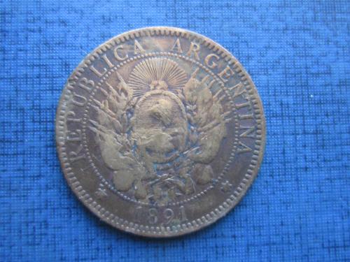 Монета 2 сентаво Аргентина 1891