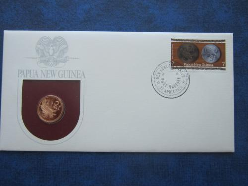 Монета 2 тоеа Папуа и Новая Гвинея 1975 фауна пруф КПД марка с монетой