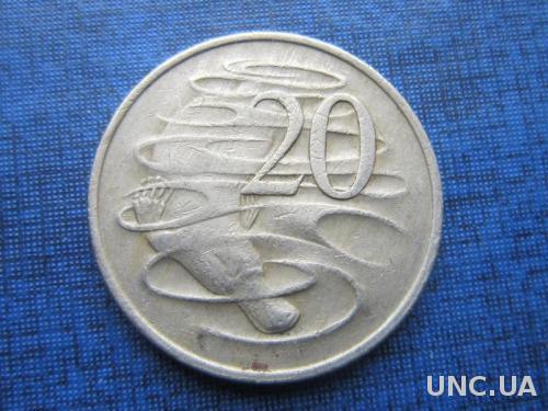 монета 20 центов Австралия 1973 фауна утконос
