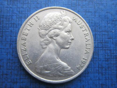 Монета 20 центов Австралия 1974 фауна утконос