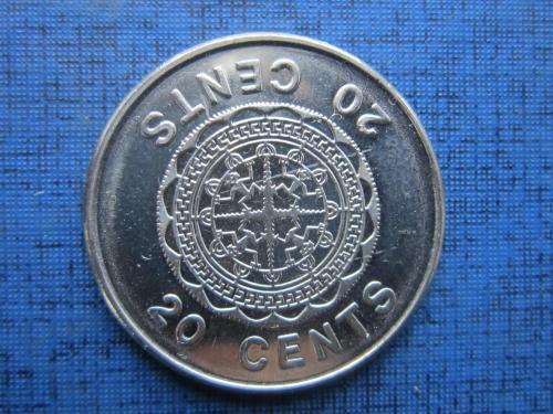 Монета 20 центов Британские Соломоновы Острова Океания 2008 большая
